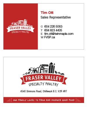 Fraser Valley business card design print