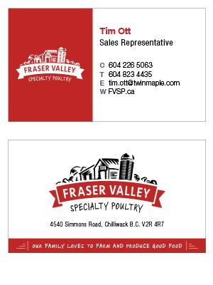 Fraser Valley business card design print