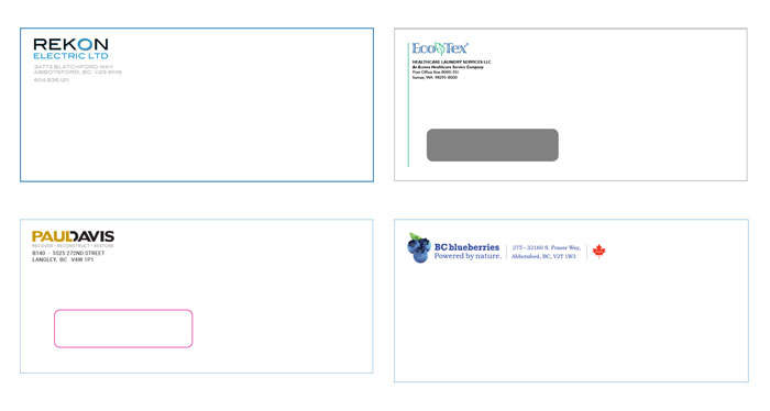 Abbotsford company envelope customize design print
